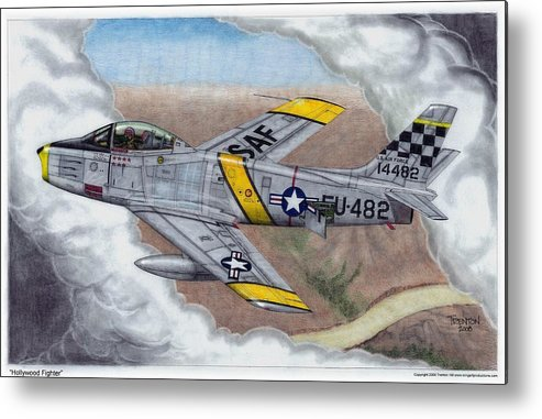 Aviation Metal Print featuring the drawing Hollywood Fighter by Trenton Hill
