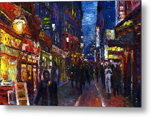 Oil Metal Print featuring the painting Paris Quartier Latin 01 by Yuriy Shevchuk