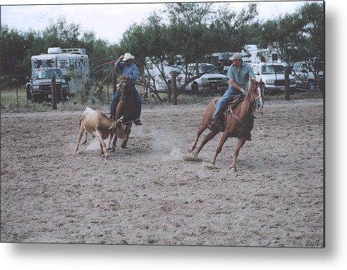 Horses Metal Print featuring the photograph Roping Event 6 by Wendell Baggett