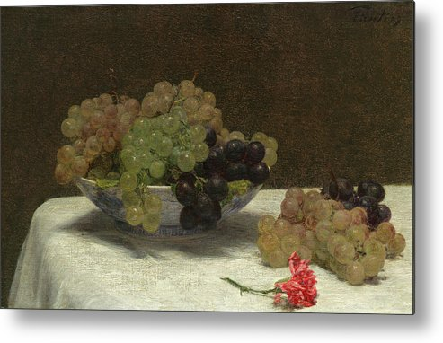Henri Fantin-latour Metal Print featuring the painting Still Life With Grapes And A Carnation by Henri Fantin-Latour