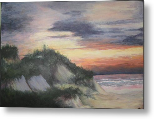 Seascape Metal Print featuring the painting The Cliffs by Sheryl Sutherland