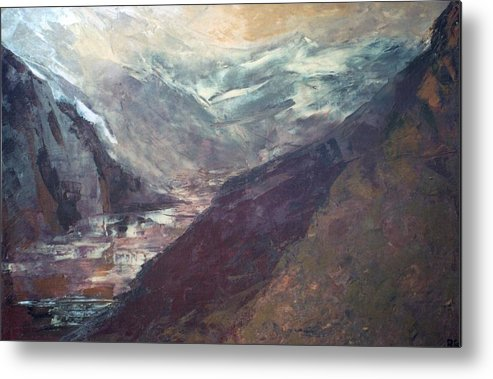 Lanscape Mountains Spiritual Places Metal Print featuring the painting The Path Of Lesser Resistence by Peta Mccabe