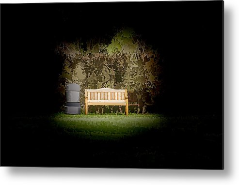 Bench Metal Print featuring the photograph A Trash Can And Wooden Benches In A Small Grassy Area by Ashish Agarwal