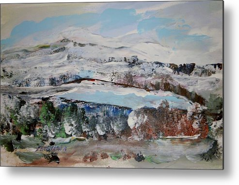 Snow Metal Print featuring the painting Donner Lake by Edward Wolverton