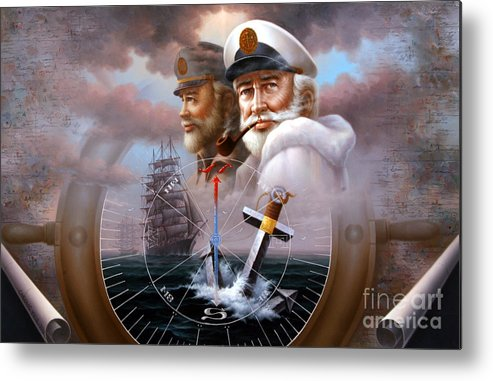 sea Captain Metal Print featuring the painting News Two Map Captain Or Two Sea Captain by Yoo Choong Yeul