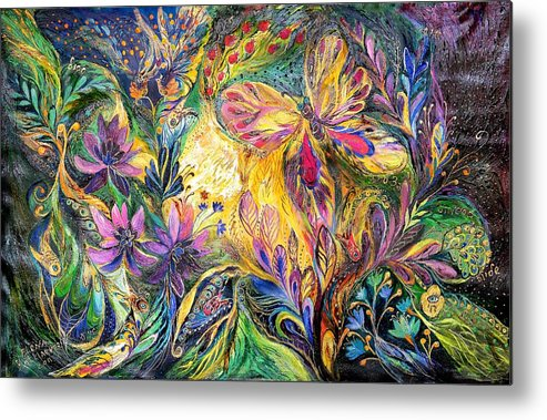 Original Metal Print featuring the painting The Life Of Butterfly by Elena Kotliarker