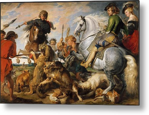 Peter Paul Rubens Wolf And Fox Hunt Metal Print featuring the painting Wolf And Fox Hunt by Peter Paul Rubens