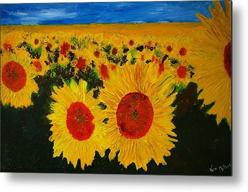 Flowers Metal Print featuring the painting A Field Of Sunflowers by Veron Miller