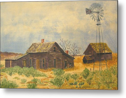 Farm Metal Print featuring the painting Abandoned Farm by Ally Benbrook