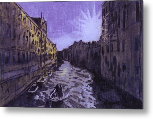 Landscape Metal Print featuring the painting After Rio Dei Mendicanti Looking South by Hyper - Canaletto
