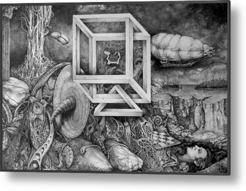Drawing Metal Print featuring the drawing Axis Mundi by Otto Rapp