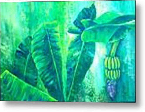 Metal Print featuring the painting Banan Leaves 5 by Carol P Kingsley