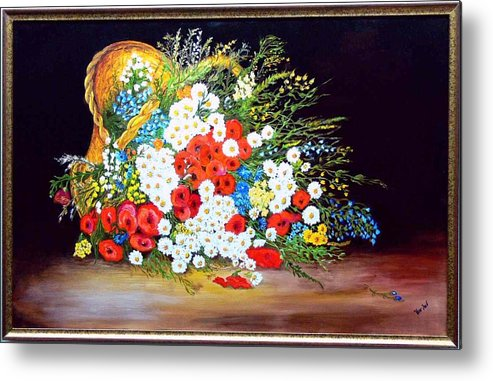 Summer Metal Print featuring the painting Basket With Summer Flowers by Helmut Rottler