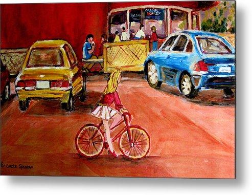 Orange Julep Metal Print featuring the painting Biking To The Orange Julep by Carole Spandau