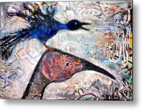 Birds Metal Print featuring the mixed media Bird On Bird by Dave Kwinter