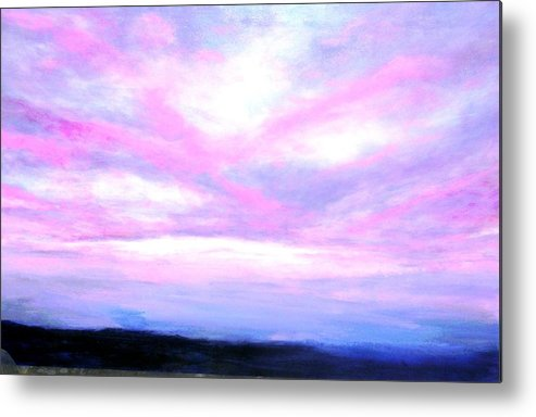 Landscape Metal Print featuring the painting Blue And Pink Sky by Marie-Line Vasseur