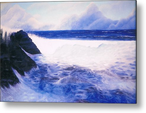Sea Metal Print featuring the painting Blue Day by Brett McGrath