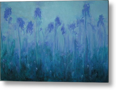 Blue Iris Metal Print featuring the painting Blue Iris by Sheryl Sutherland