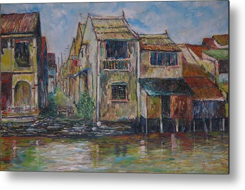 Landscape Metal Print featuring the painting Boat Ride Along The Malacca River by Wendy Chua