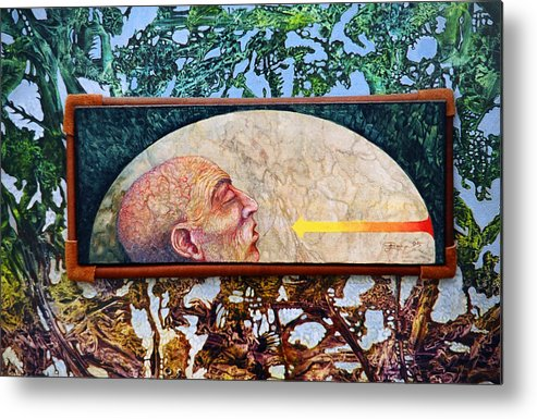 Surrealism Fantasy Fantastic Realism Decalcomania Otto Rapp The Mystic Metal Print featuring the painting Bogomil Rising by Otto Rapp