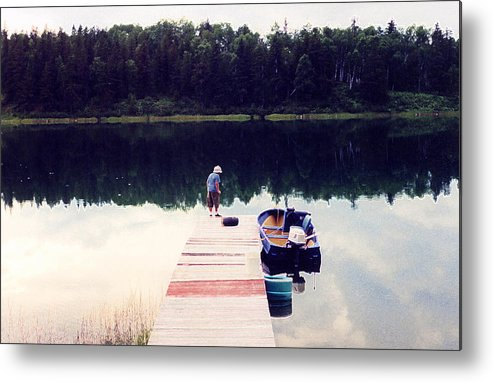 Lake Metal Print featuring the photograph Boy On The Dock Ae by Lyle Crump