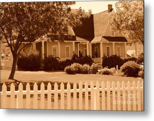 Sepia Metal Print featuring the photograph Brigham Young Home by Dennis Hammer