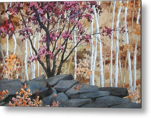 Fall Metal Print featuring the painting Burgundy On The Rocks by Faye Ziegler