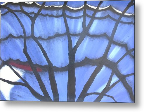 Blue Butterfly Tree Abstract Landscape Metal Print featuring the painting Butterfly Tree 2 by Sally Van Driest