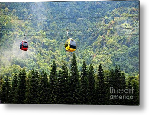Cable-car Metal Print featuring the photograph Cable Car Passes By A Mountain Slope by Yali Shi