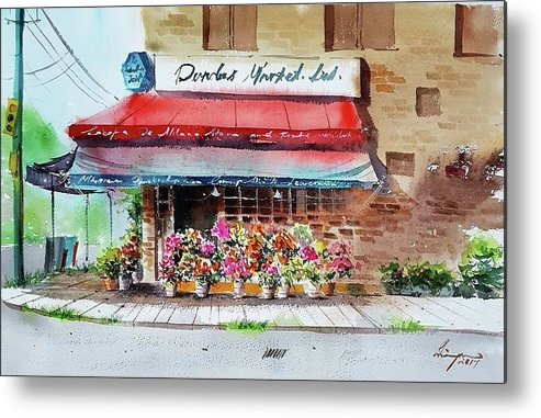 Cafe Metal Print featuring the painting Cafe by Shaima Adnan