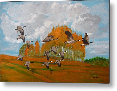 Canadian Geese Metal Print featuring the painting Canadian Geese by Richard Le Page