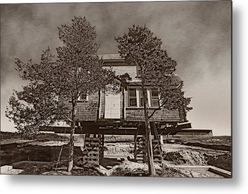 Cape Cod House In The Air Metal Print featuring the photograph Cape Cod House by Victor Yekelchik