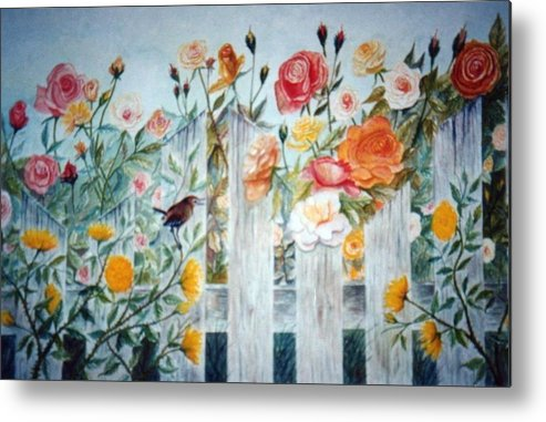 Roses; Flowers; Sc Wren Metal Print featuring the painting Carolina Wren And Roses by Ben Kiger