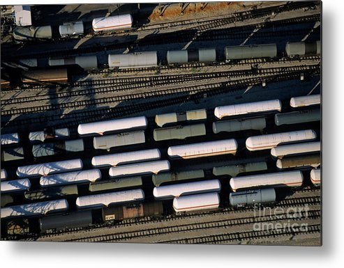 Cargo Metal Print featuring the photograph Carriages Of Freight Trains On A Commercial Railway by Sami Sarkis
