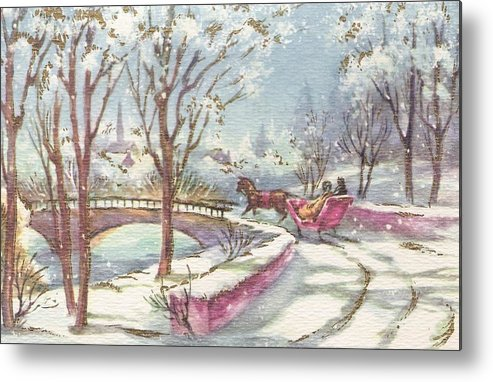 Horse Drawn Sleigh Metal Print featuring the painting Christmas Illustration 1243 - Vintage Christmas Cards - Horse Drawn Sleigh by TUSCAN Afternoon