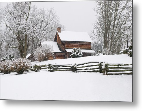 Log Cabin Metal Print featuring the photograph Cozy Snow Cabin by J K York