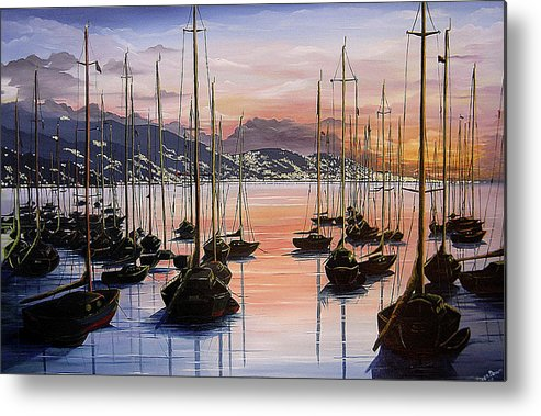 Seascape Painting Yacht Painting Harbour Painting Port Of Spain Trinidad And Tobago Painting Caribbean Painting Tropical Seascape Yachts  Painting Boats Dawn Breaking Greeting Card Painting Metal Print featuring the painting Daybreak by Karin Dawn Kelshall- Best