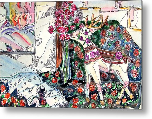Deer Metal Print featuring the painting Deer And Roses by Mindy Newman