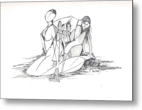 Women Metal Print featuring the drawing Entangled Women by Padamvir Singh