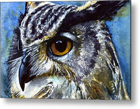 Owls Metal Print featuring the painting Eyes Of Owls No.25 by John D Benson