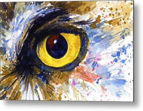 Owls Metal Print featuring the painting Eyes Of Owl's No.6 by John D Benson