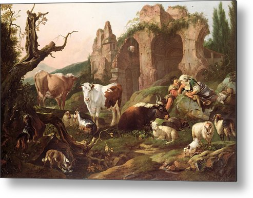 Farm Metal Print featuring the painting Farm Animals In A Landscape by Johann Heinrich Roos