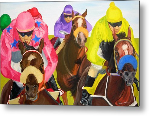 Horse Racing Metal Print featuring the painting Finish Line by Michael Lee