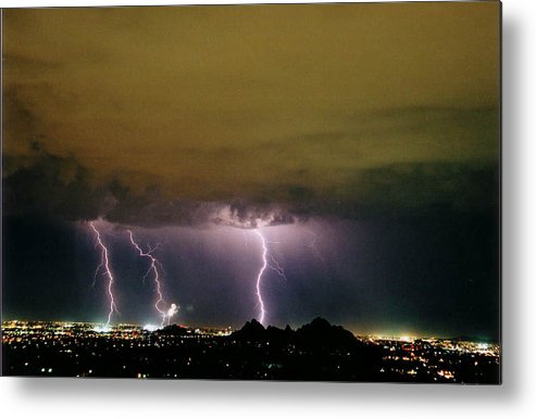 Lightning Metal Print featuring the photograph Fireworks 1 by Cathy Franklin
