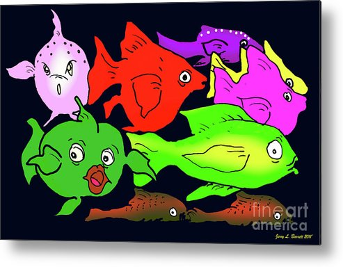 Deep Metal Print featuring the mixed media Fish by Jerry L Barrett