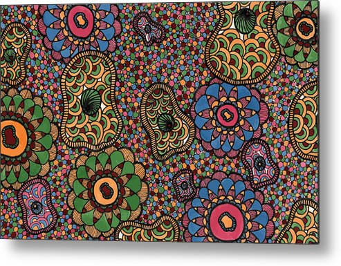 Abstract Pattern Metal Print featuring the drawing Floating by Jill Lenzmeier