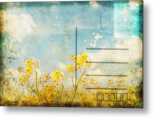Address Metal Print featuring the photograph Floral In Blue Sky Postcard by Setsiri Silapasuwanchai