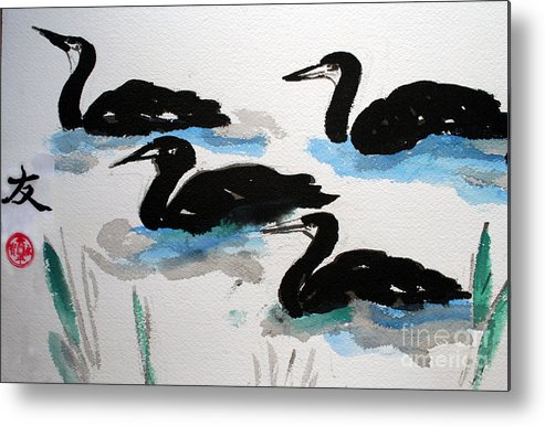 Sumi Ink Metal Print featuring the painting Four Ducks by Lisa Baack