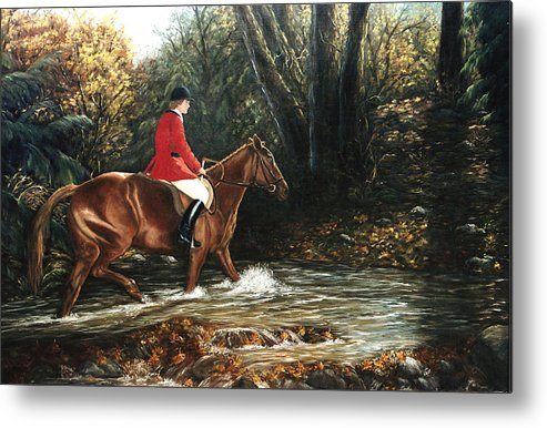 Horse Metal Print featuring the painting Fox Hunt by Grace Nikander