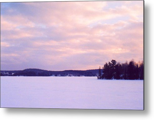 Landscape Metal Print featuring the photograph Frozen Lake Sunset by Lyle Crump